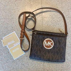 MK Fulton Brown Logo Leather Crossbody Bag
